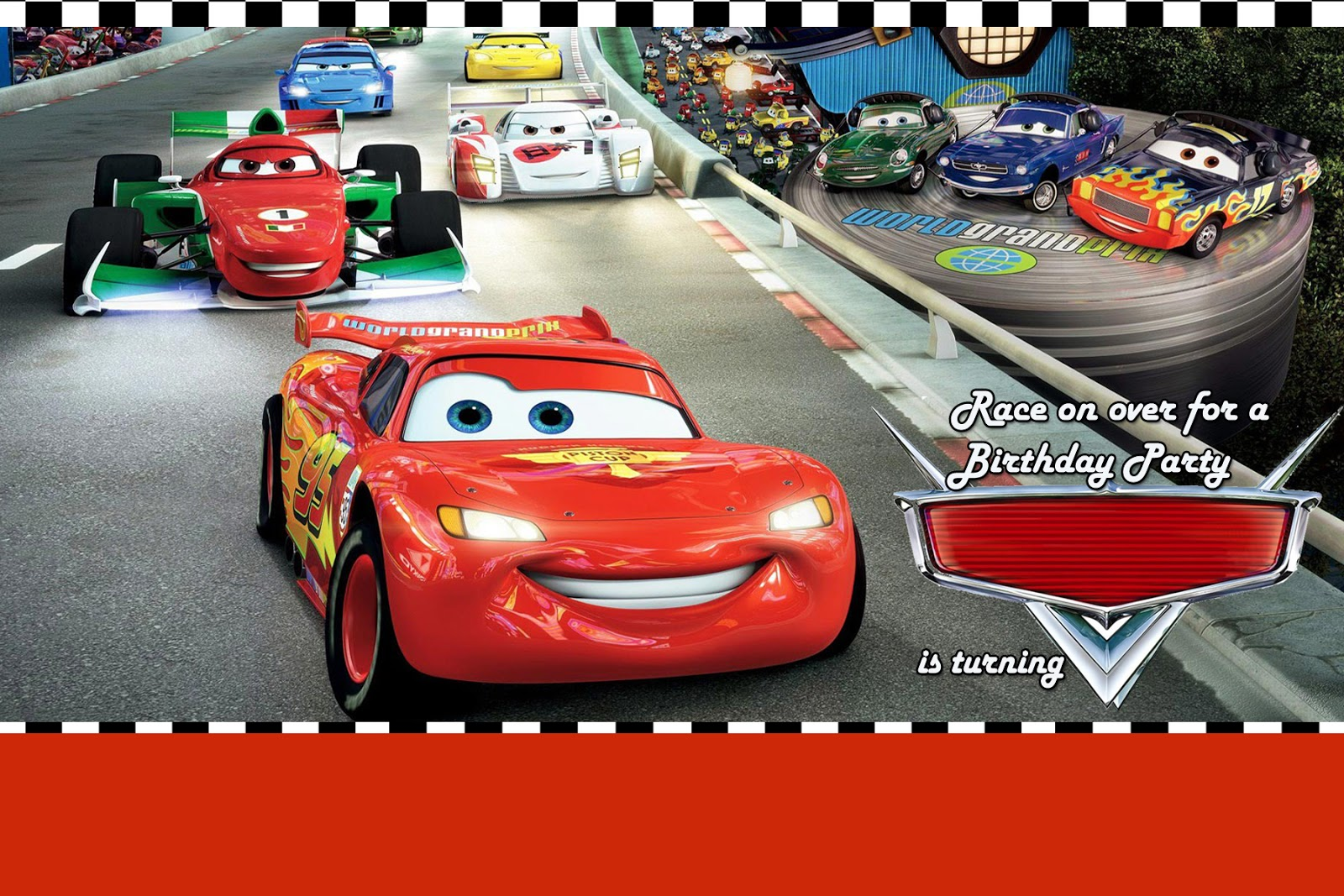 Moms kiddie party link disney cars party invitation 2 use any photo editing software like photoshop or photoscape and put the celebrants name age date time and place of venue you can use any font as you stopboris Gallery