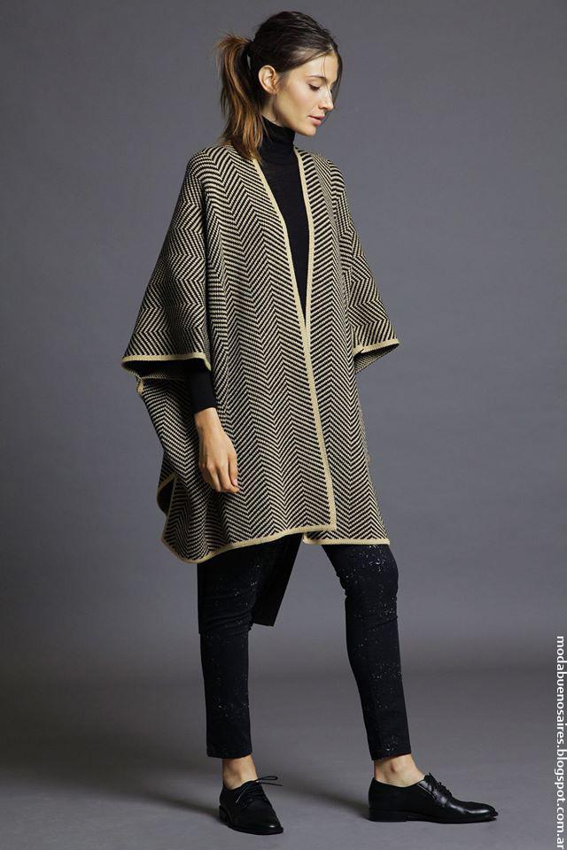 Moda invierno 2016 ropa de mujer Awada. Moda 2016 ponchos.