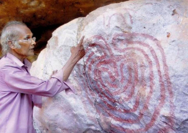 Neolithic rock painting of labyrinth discovered in eastern India