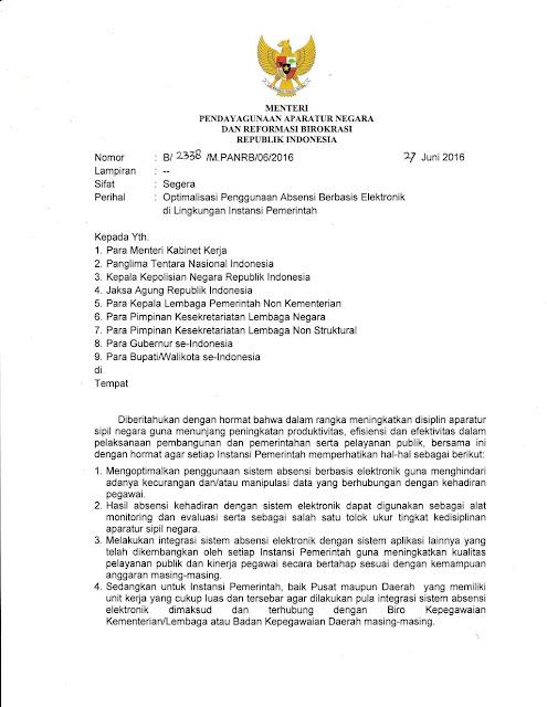 Surat Menteri PANRB Tentang Penggunaan Absensi Berbasis Elektronik di Lingkungan Instansi Pemerintah