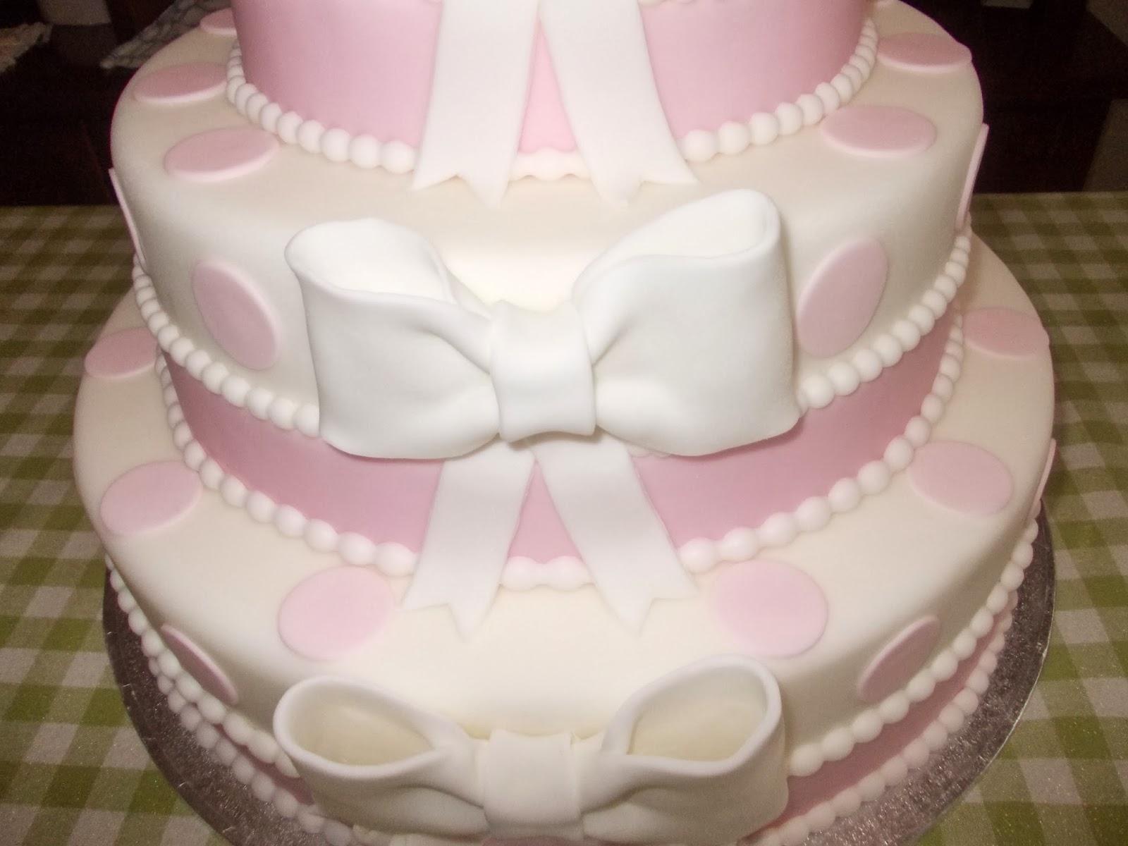 Ben noto pasticci di zucchero: torta prima Comunione fiocchi e pois AD65