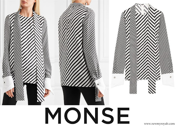 Queen Rania wore MONSE Cotton piqué trimmed striped silk twill blouse