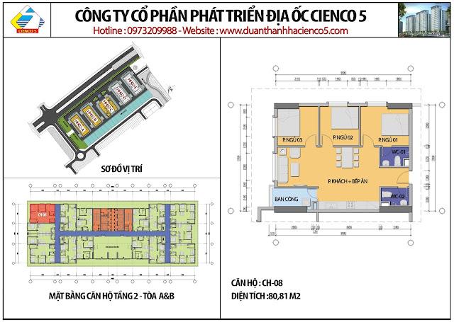 Mặt bằng căn hộ CH08 tầng 3-18 tòa HH02A&B