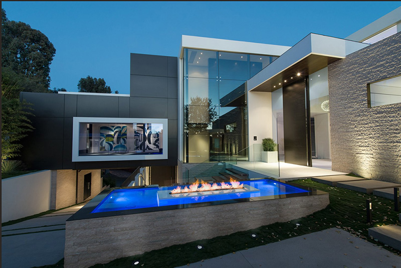 modern mansion wrap around pool