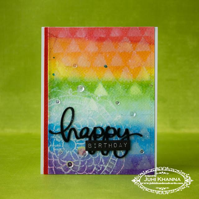 Rainbow Watercolor wash background. #Ginamarie dies and #waffleflowercrafts