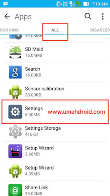 Menu All Installed Application Setting Android