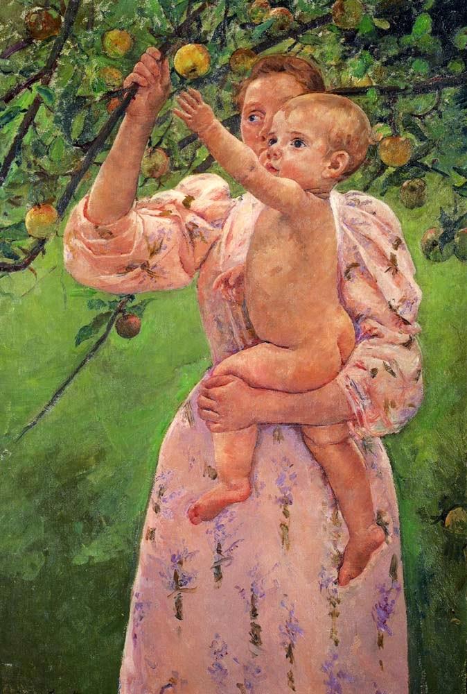 Bebê Alcançando uma Maça - Pinturas de Mary Cassatt | Mulheres na pintura