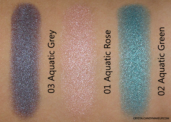 Clarins Ombre Iridescente Eyeshadow 03 Aquatic Grey 01 Aquatic Rose 02 Aquatic Green Review Swatch
