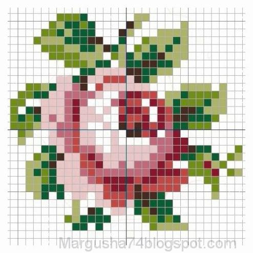 Вышивка крестом роза простая схема