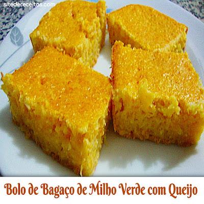 Bolo de bagaço de milho verde com queijo