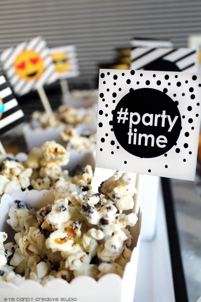partytime toppers, Oreo chocolate covered popcorn, emoji birthday food
