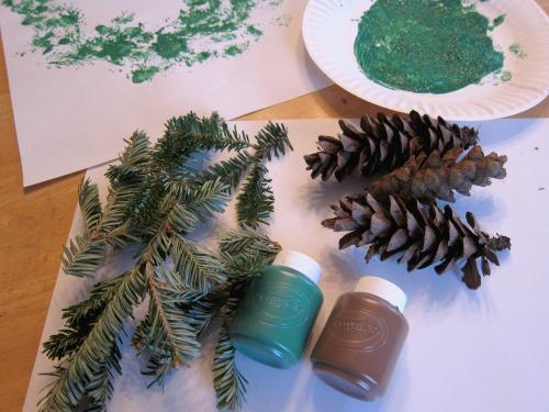 Pine Bough Wreath Print Tutorial for kids