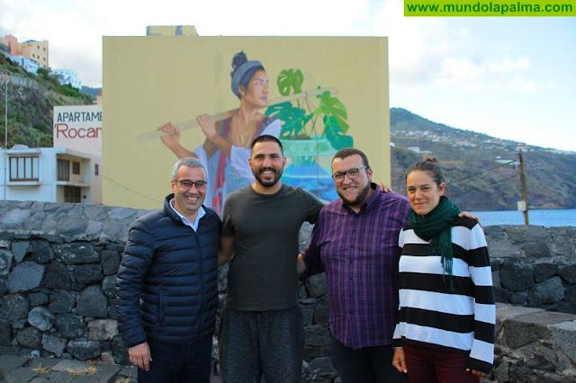 Una gran alegoría de San Borondón ilustra la salida norte de Santa Cruz de La Palma gracias al proyecto Capital del Color