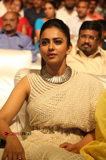 Actress Rakul Preet Singh Stills in White Dress at Winner Pre Release Function  0032.jpg