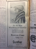 An ad from a 1927 issue of the Dartmouth student newspaper advertising raccoon coats as perfect for drivers of open cars. The cost is $350 and sold by a New York furrier.
