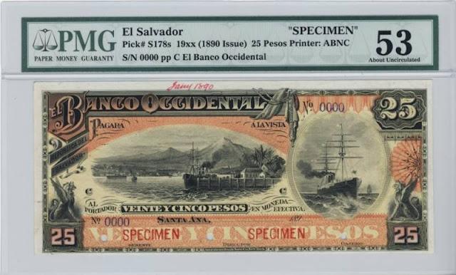 El Salvador currency El Banco Occidental 25 Pesos