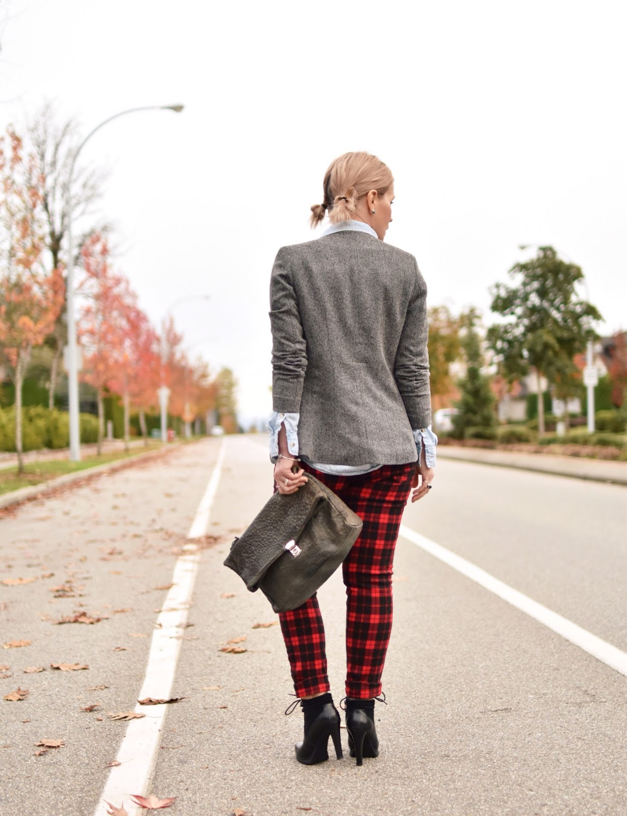 Outfit inspiration c/o Monika Faulkner - red plaid jeans, chambray shirt, shawl-collar blazer, and lace-up booties