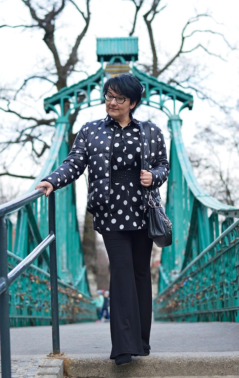 Polka dots jacket, black and white polka dots