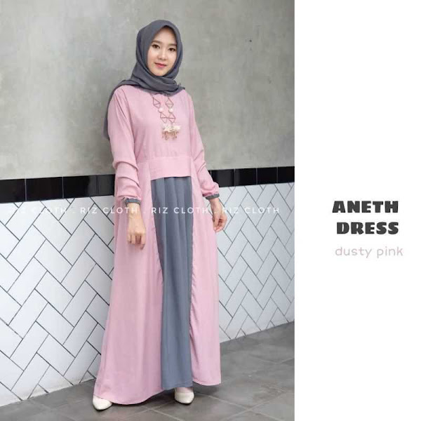 Gamis Dress Aneth Dusty Pink