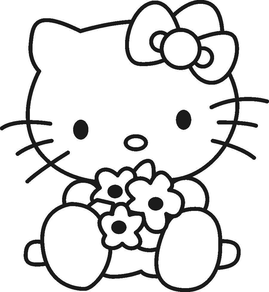 Gambar Mewarnai Gambar Hello Kitty Untuk Anak