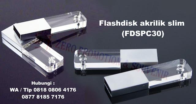 flashdisk akrilik slim, flashdisk bisa nyala lampu, flashdisk akrilik kombinasi metal (FDSPC30)