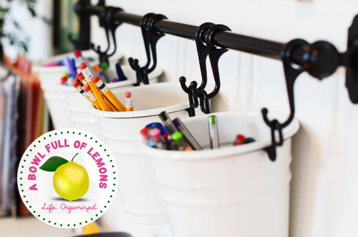 How to organize the home office A Bowl Full of Lemons - hanging office organization