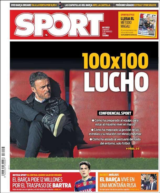 Portada del periódico Sport, sábado 5 de marzo de 2016