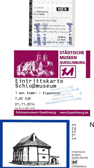 ticket do trem e ingressos para os museus de Quedlinburg