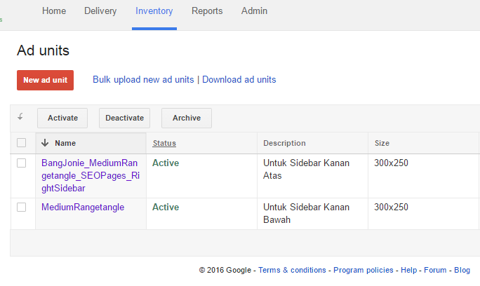 Membuat unit iklan di Google DFP