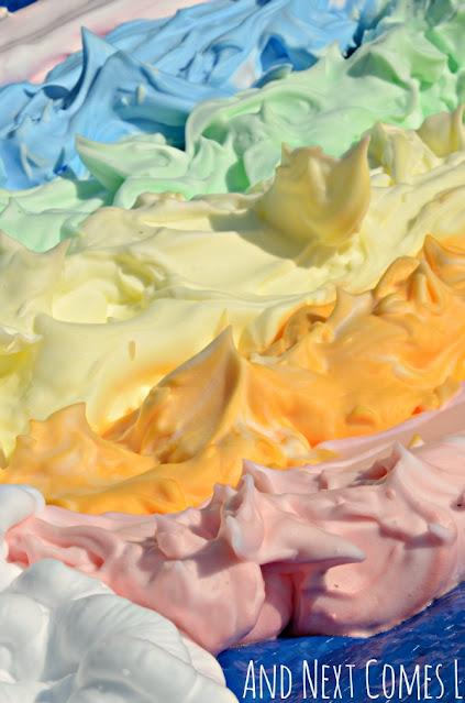 Close up of colored shaving cream sensory play