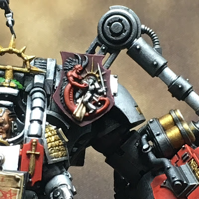 Grand Master in DreadKnight Armor tilting shield close-up