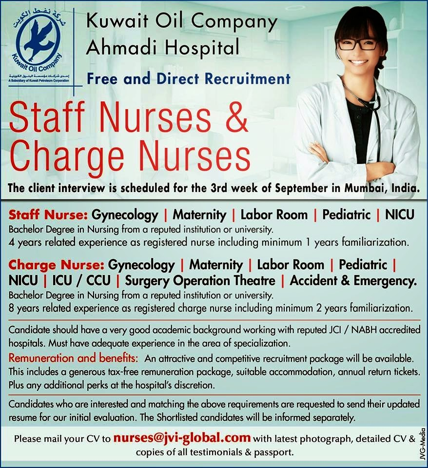 KUWAIT OIL COMPANY AHMADI HOSPITAL/ STAFF NURSE/CHARGE NURSES | JOBS
