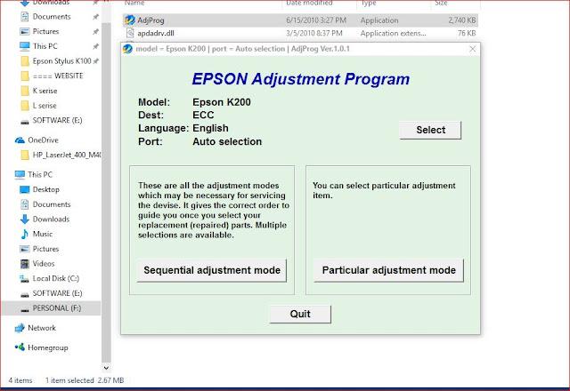 Epson K200 Resetter