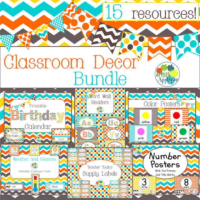 This colorful classroom decor bundle is fresh and bright! | Apples to Applique