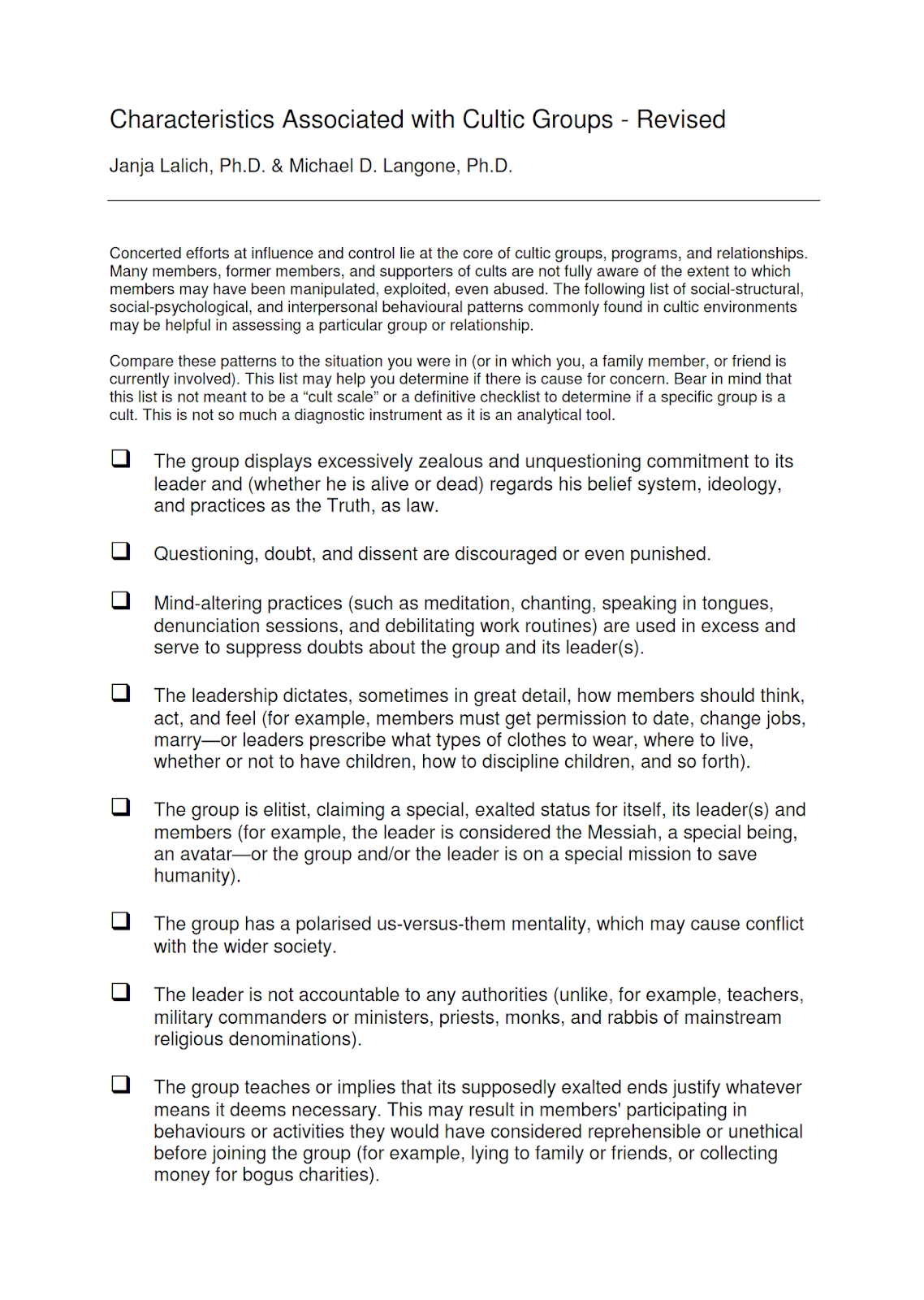 Cult Characteristics of Cultic Groups checklist by Lalich and Langone - page 1