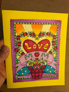 I love you Mom coloring page by JennyLuanArt