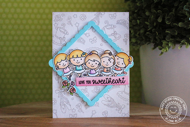Sunny Studio Stamps: Tiny Dancers Fancy Frames Tone-On-Tone Stamped Background Card by Eloise Blue