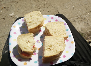 Sat in very warm sun having my lunch