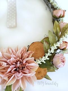 blush pink flowers in DIY wreath