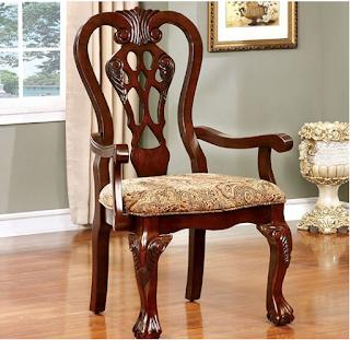 Benzara BM131208, Set of 2, Brown Cherry Elana Established Arm Chair