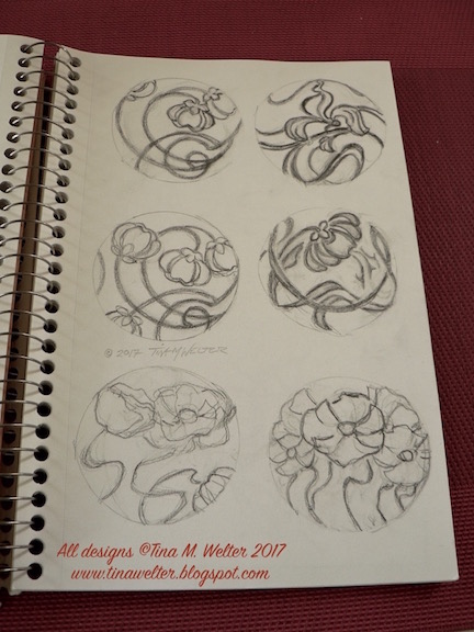 Art Nouveau inspired pencil sketches ©2017 Tina M. Welter