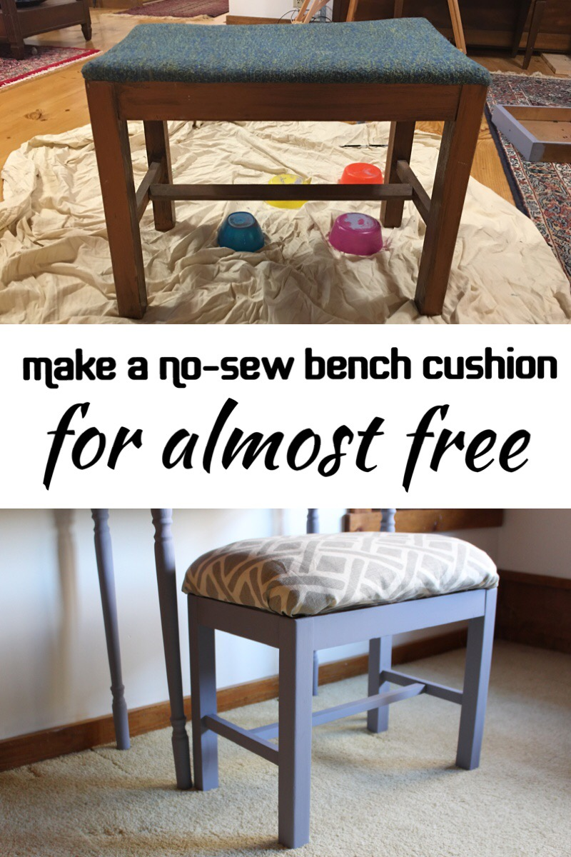 How to make a no sew bench seat cushion for almost free! #benchcushion #nosew #benchcushionideas #benchcushiondiy #upcycle #bedpillow