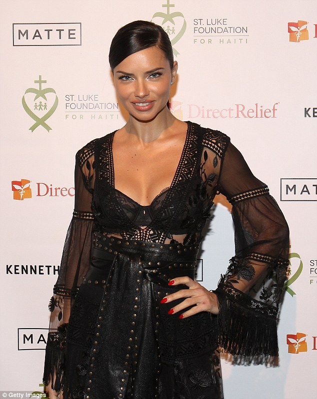 Adriana Lima wears bondage inspired outfit to the Haiti Benefit in NYC