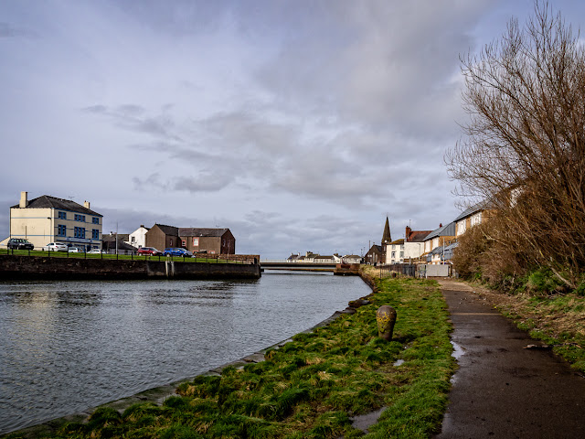 Photo of blue sky and sunshine over the River Ellen in Maryport on Saturday