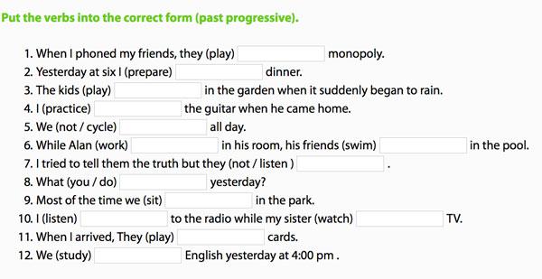 Ejercicios para completar y reescribir las oraciones afirmativas y negativas del pasado continuo en inglés