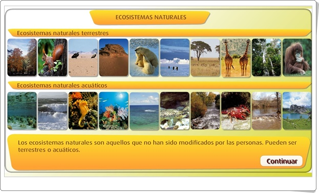 """""""Ecosistemas naturales"""" (Actividad interactiva de Ciencias Naturales de Primaria)"""