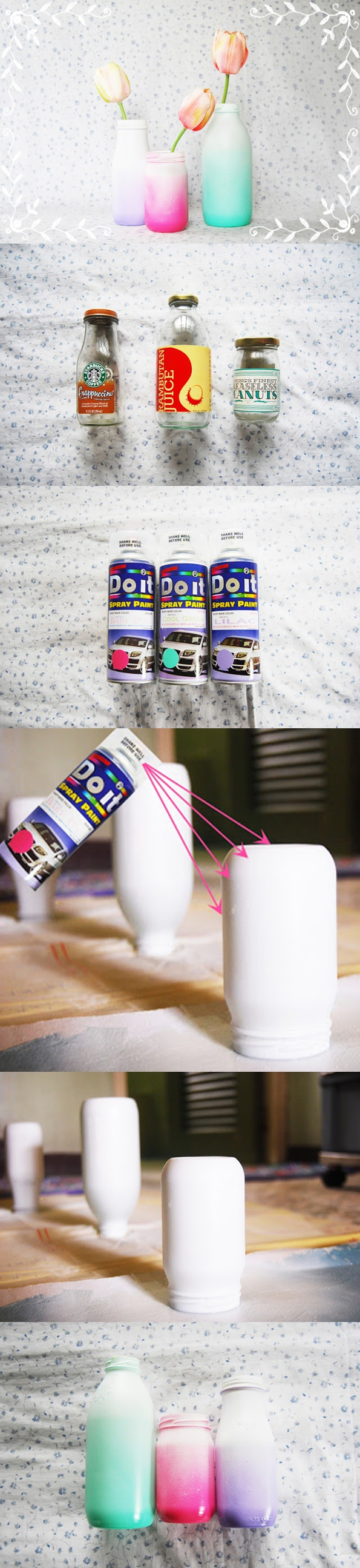 Spray Painted Ombre Glass Bottles DIY
