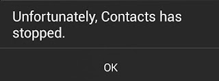 "Screenshot of Android error: ""Unfortunately, Contacts has stopped"""