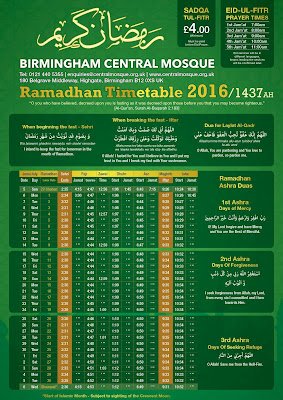 Birmingham Ramadan Timetable with sunrise and sunset times for Ramadan in Birmingham 2