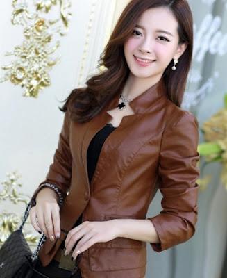 Gambar Jacket Kulit Wanita (Coklat)
